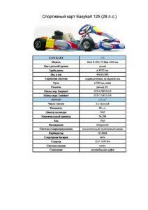 Спортивный карт Easykart 125 описание