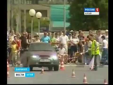Фигурный пилотаж 2012. Автоспорт автогонки дрифт. Вести Алтай Барнаул